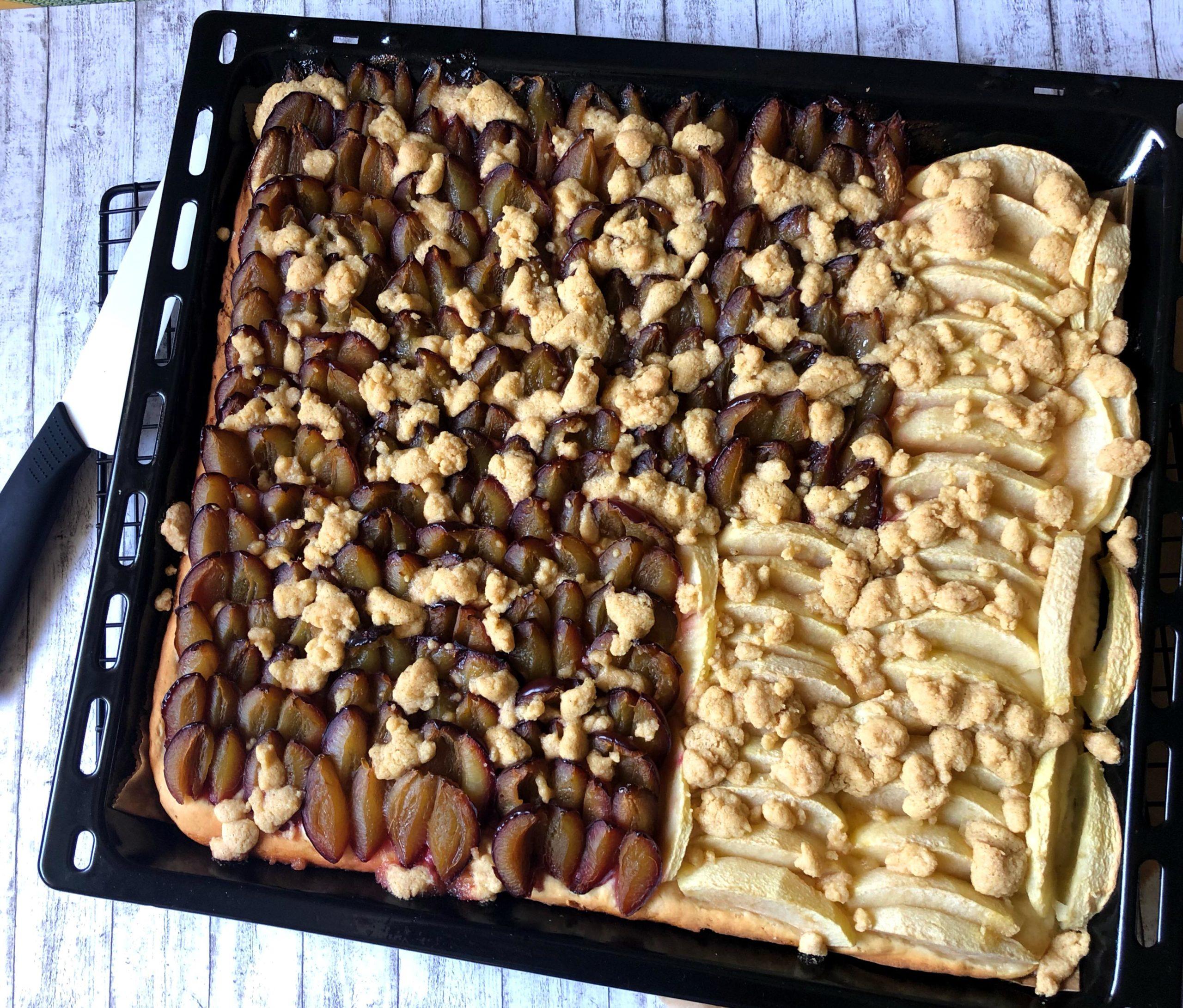 glutenfreier Apfel-Quetschekuchen mit Zimtstreuseln vom Blech
