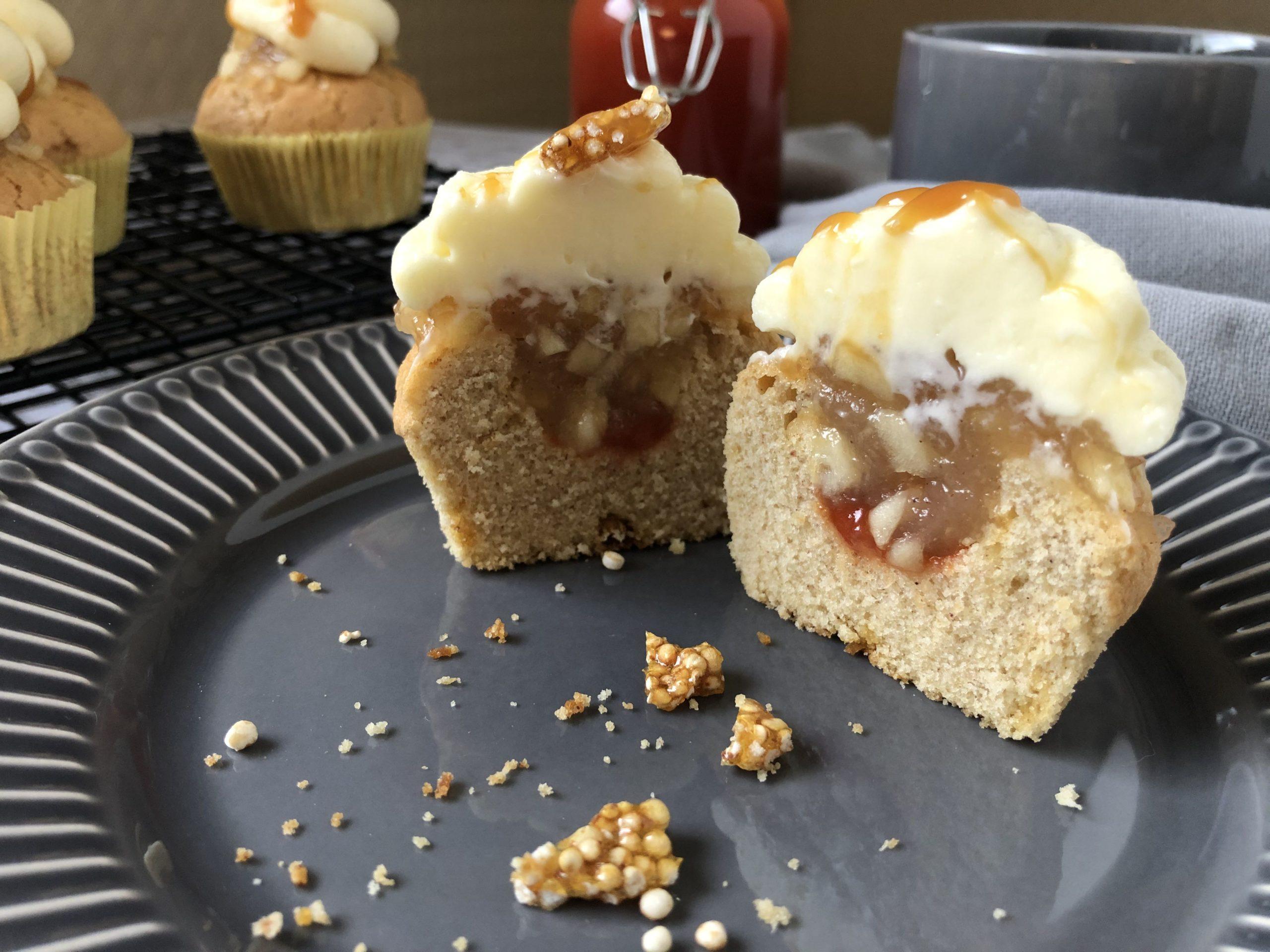 Apfel-Hagebutte-Cupcakes Nahaufnahme